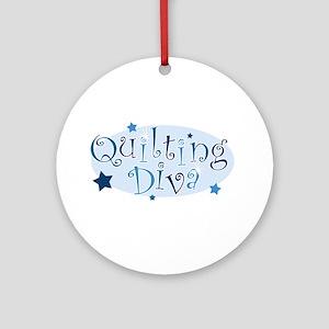 """""""Quilting Diva"""" [blue] Ornament (Round)"""